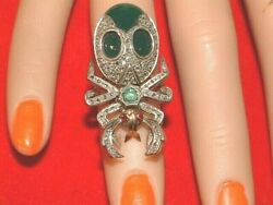 9ct Gold Large Beetle Bug Ring With Diamonds And Emerald And Green Agate Ruby Eyes