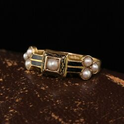 Circa 1882 - Antique Victorian 15kt Yellow Gold Pearl Black Enamel Mourning Ring