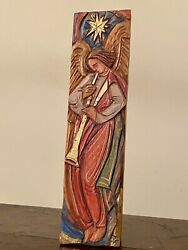 Antique Triumphant Angel With Trumpet And Star Oil Stain On Bass Wood 22k Gold