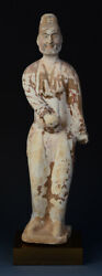 Tang Dynasty Antique Chinese Painted Pottery Standing Foreign Court Man