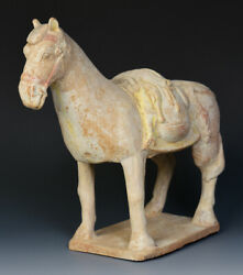 Northern Qi Dynasty Rare Antique Chinese Painted Pottery Standing Horse