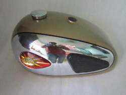 Bsa A7 A10 Chrome And Golden Paint Petrol Tank With Badges + Knee Pads+tap+cap
