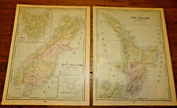 New Zealand North Island And South Island 1903 Cram Antique Color Map  2 Maps