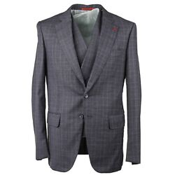 Isaia 'gregorio' 3-piece Gray Check Soft Brushed Wool Suit 36r Eu 46