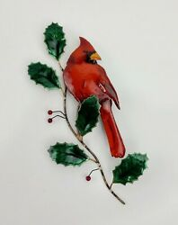 Bovano of Cheshire Wall Sculpture Art RARE Cardinal On Winterberry Holly Tree