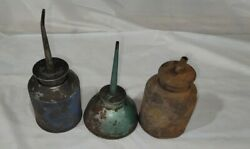 Lot Of 3 Vintage Oil Cans, Metal Oilers, Collectible Oil Cans