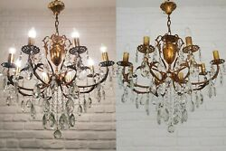 Matching Pair Of Antique Vintage 8 Arms Brass And Crystals Chandelier Ceiling Lamp