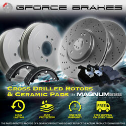 Front Drilled Rotors Pads And Rear Drums Shoes For 2001 Chevrolet Express 3500 Drw