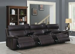 Brown Polyester 3 Power Reclining Sofa Theater Seats And 2 Consoles Furniture