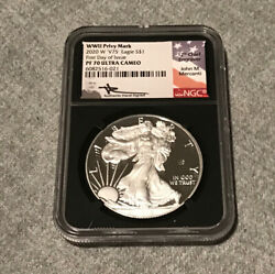2020 W V75 Silver Eagle Wwii Ngc Pf70 Ucam Mercanti Signed First Day Issue Bc