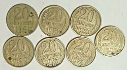 20 Kopecks Ussr Lot Of 10 Pieces. From 1961 To 1990. Numismatics Vintage Coins