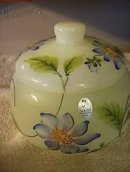 Fenton Glass H/p Signed By The Artist Candy Dish With The Lid