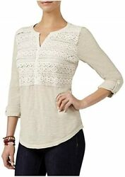 Style amp; Co Crochet Detail Top. Stone Wall. Large