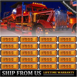 20x 3.9 3-led Amber Yellow Truck Trailer Side Marker Lights Clearance Light