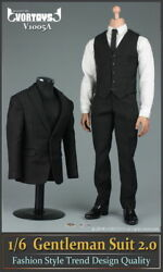 Vortoys V1005a 1/6 Black Gentleman Suit 2.0 Coatandpant Cothes Fit 12and039and039 Male Body