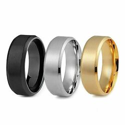 8MM Stainless Steel Ring Band Black Men#x27;s SZ 6 to 12 Wedding Rings Man