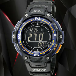 Casio Sgw100-2b Twin Sensor Compass Watch Thermometer 200m Wr Backlight New