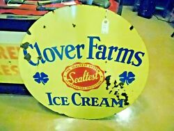 Vintage Sealtest Ice Cream 30 Porcelain Sign Rare Double Sided Clover Farms