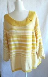 Sag Harbor Women's Long Sleeve Yellow And White Striped Sweater Size 3x