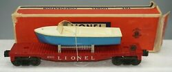 1958 Lionel Postwar 6801-75 Flat Car With Boat Excellent Condition In Ob