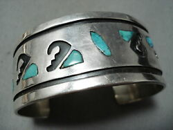 Authentic Vintage Hopi Navajo Turquoise Inlay Sterling Silver Bracelet Old