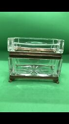 Antique French Baccarat Crystal Bronze Casket Box Or Jewellery With Original Key