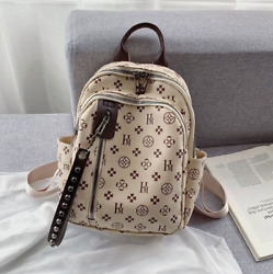 Luxurious Leather Small Backpack Designer Classic Vintage Bag Stylish for Women $45.68