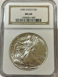 1989 1 Silver American Eagle Ngc Ms 69
