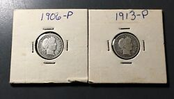 1906-p And 1913-p Barber Dimes - A Pair Of Sweet Beauties