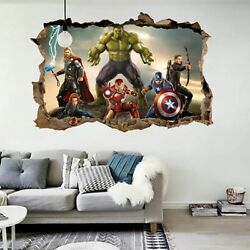 Cartoon Movie Avengers Wall Stickers for Kids Rooms Home 3d Decor Effect