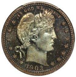 1903 U.s. Barber Quarter Proof Silver Coin - Pcgs Pr 67 - Cheyenne Collection