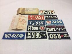 1953 General Mills Wheaties Cereal Premium Old World Bicycle License Plate Set