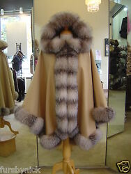 Camel Cashmere Hooded Cape With Crystal Fox Fur Trim Beautifully Canadian Label