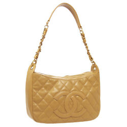 Quilted Cc Chain Hand Bag 7908554 Purse Beige Caviar Skin Leather 35582