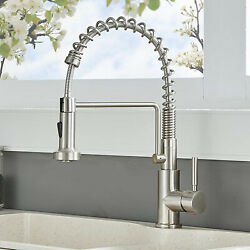 Stainless Steel Kitchen Sink Faucet With Pull Down Sprayer Single Hole Mixer Tap