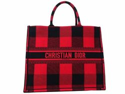 Christian Dior Book Tote Large Bag Checks And Plaids Red Black Women Unused M1900
