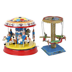 2pcs Spinning Airplanes Carousel Tin Toy Wind Up Vintage Clockwork Collectibles