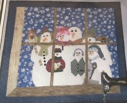 """Let It Snow 30""""x34"""" Wall Hanging Christmas Quilt Pattern Snowmen Outside Window"""