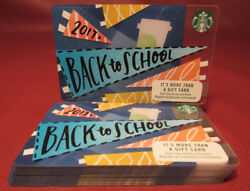 Lot Of 13 Starbucks, 2017 Back To School Gift Cards New Unused With Tags