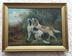 Setter Gundog Pair In Woodland Dog Painting Oil On Canvas By Charles Dudley