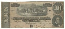 T-68 Pf-1 1864 10 Confederate Paper Money - Missing G