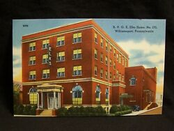 Pa Williamsport 2 Different Elks Home And Hospital Linen Postcards
