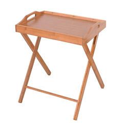 Folding Bamboo Wood Tv Tray Dinner Table Bed Desk Serving Snack Tea Portable Us