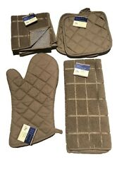 Home Collection Brown Oven Mitt Pot Holder Kitchen Towel Microfiber Scrubbers