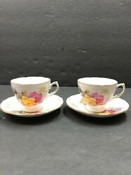 Vintage Antique Pair Of English Royal Kent Floral Gilded Tea Cup And Saucer Sets