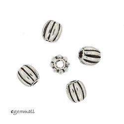 30 Bali Antique Sterling Silver Oval Pumpkin Spacer Beads 3.6x4mm 99311