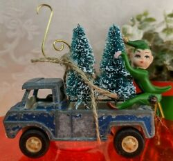 Vintage Tootsie Toy Car W Bottle Brush Trees And Elf Christmas Ornament Truck 2