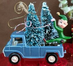 Vintage Tootsie Toy Car W Bottle Brush Trees And Elf Christmas Ornament Truck