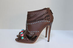 New Sz 8.5 / 38.5 Brown Leather Lika Stone Detailed Ankle Bootie Pump Shoe
