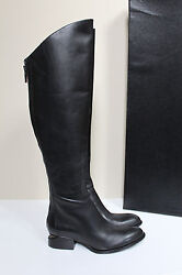 New 6.5 / 36.5 Alexander Wang Sigrid Black Leather Tall Boots Cut Out Heel Shoes